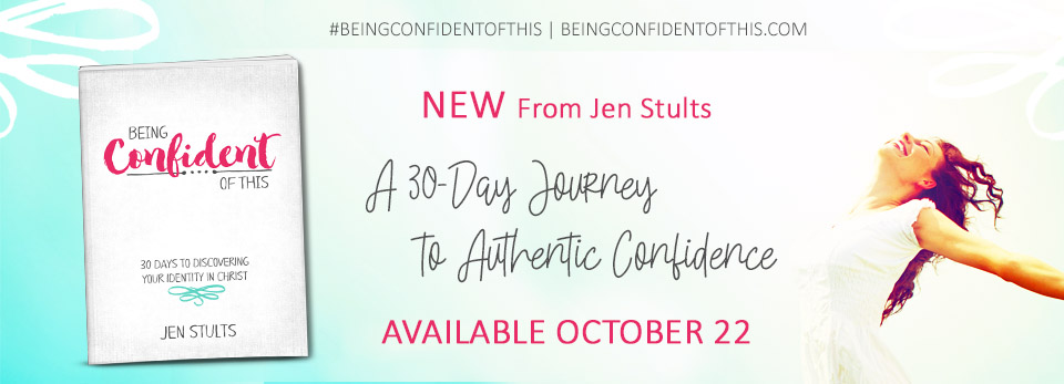 Do you long for authentic confidence, the kind that truly lasts? Join us for 30 days in God's Word as we discover how identity in Christ impacts Christian confidence! This book is for every Christian woman who wants more confident faith. spiritual growth | confidence | insecurity | fear | doubt | God's plans | Bible study | devotional | new release | Jen Stults | Being Confident of This