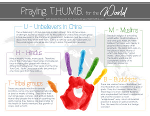 Use this #freeprintable to encourage your #family to #pray for the world's largest unreached people groups! Teach your children the importance of global missions right from your own home. T.H.U.M.B method of praying |Being Confident of This | teaching kids to pray | teaching kids missions | missional family | missions-minded family |praying family | Christian women | Christian parenting | raising godly kids