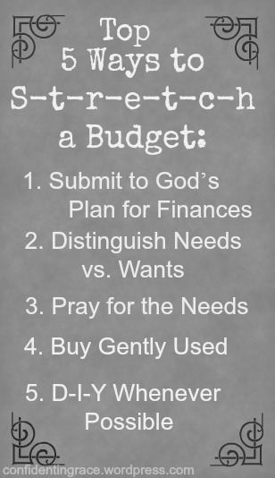 Top 5 Ways to stretch your budget.  Budgeting for a family of six on one income, tight budget, making a small budget work for a large family, single income, pastor's salary