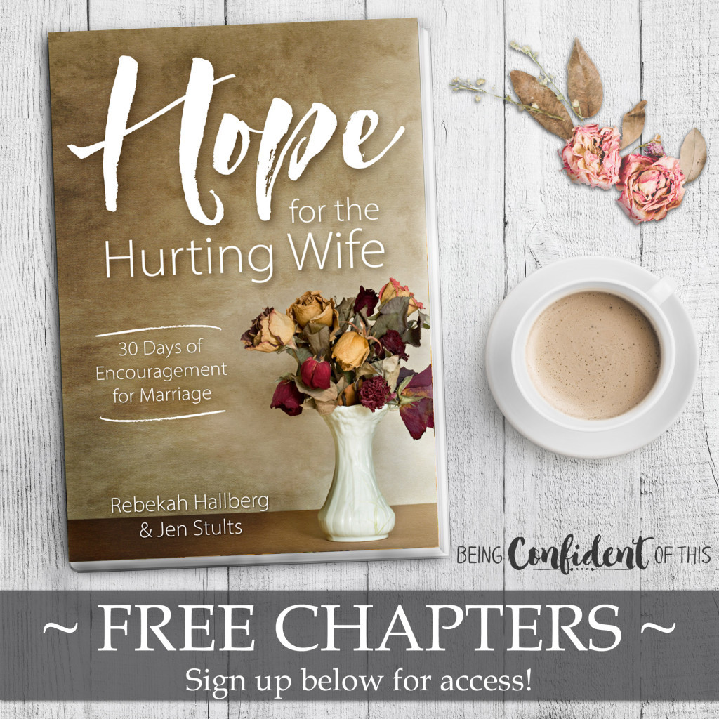 Does your marriage feel like a lot of hard work lately? Do you need encouragement to hold on? Get your free sample chapters of Hope for the Hurting Wife, a new devotional written by two women who have lived through the tough years of marriage. This biblically-based devotional contains practical advice and encouragement for all wives!