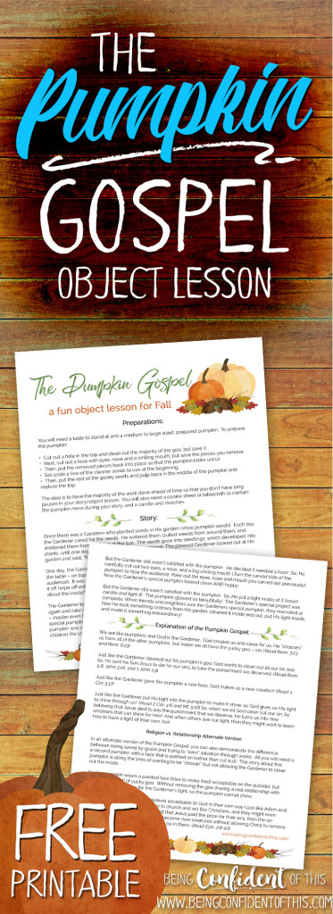 Pumpkin Gospel free printable long pin