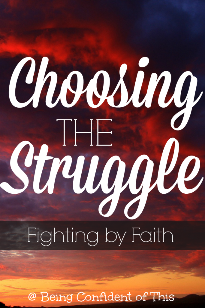 "In the deepest valleys, simple platitudes about finding ""silver linings"" and other such sayings fail to comfort.  What if we lay such glib words aside and embrace choosing the struggle instead?  We pick up our cross, never denying it's burden, and fight by faith!"