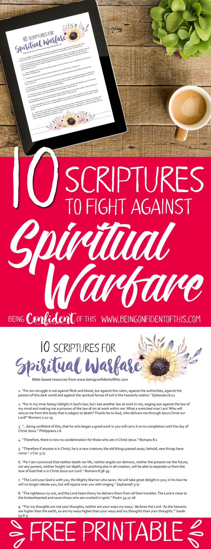Use these Bible verses to fight back when you experience spiritual warfare. Hang this free printable in a highly visible area as a constant reminder to use your Spiritual Armor!  Bible verses|spiritual warfare|fighter verses|encouraging scripture|faith-based resources for women|christian women|free printables| Bible study |devotionals | help for discouraged women |work-in-progress faith