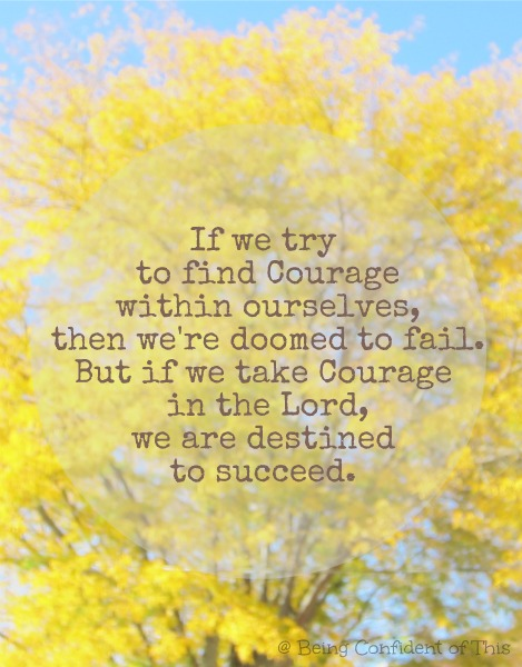 courage quote, fail or succeed, take courage in the Lord, be strong and courageous, facing a giant