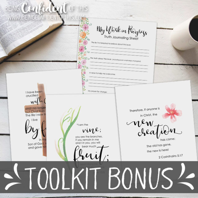 Learn how a work-in-progress mindset can make the difference between your failure and success! #goals #faith #christianwomen #discipleship Being Confident of This | toolkit | perfectionism | goal setting | printables | weekly encouragement | victory | overcome | making progress | change | habits | growth