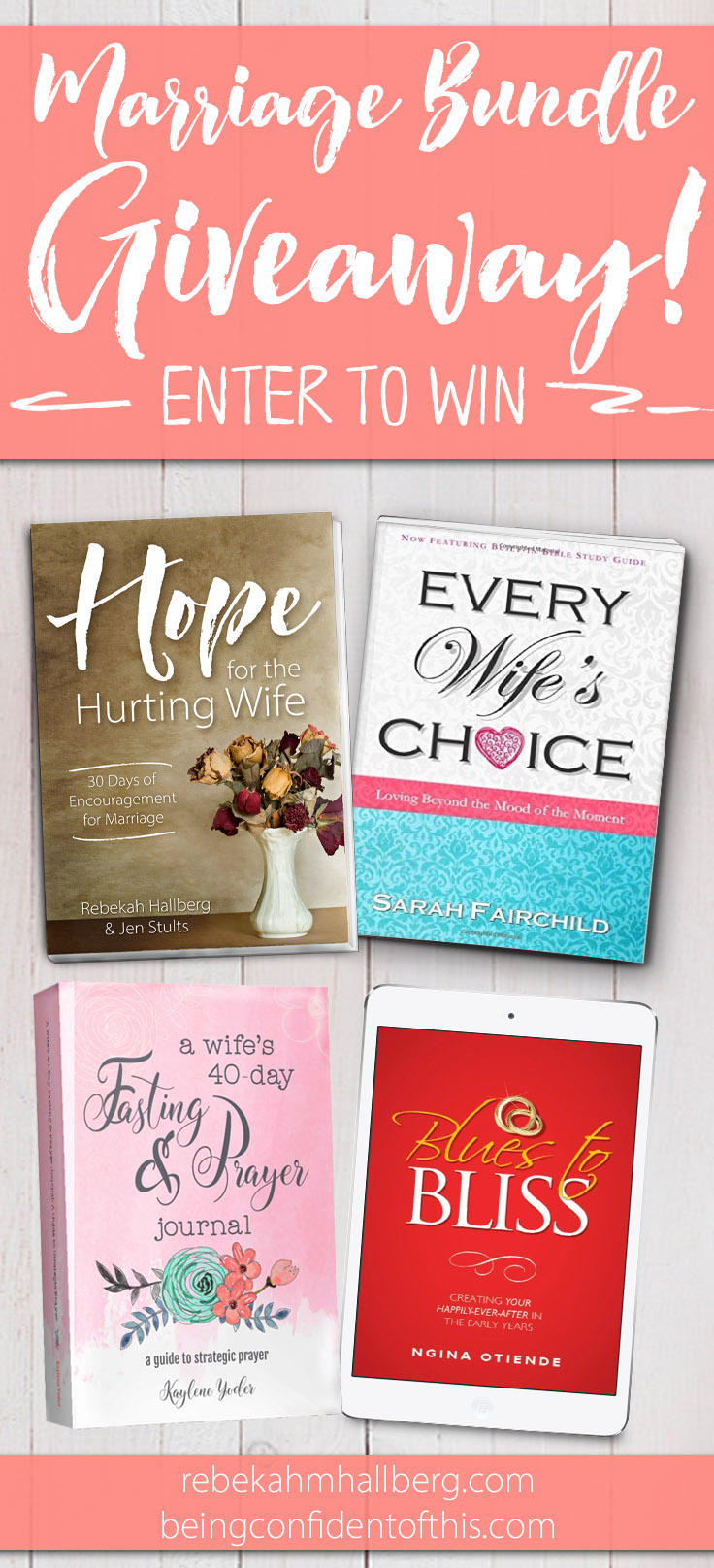We're celebrating the launch of our new book Hope for the Hurting Wife by giving away a bundle of marriage books! Enter for your chance to win these four books written for wives! marriage books|Christian wife|godly wife|marriage growth|faith|bible studies|devotionals|encouragement for marriage|hope for the  hurting wife|prayer journal