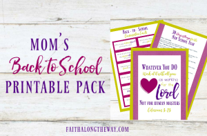 Overcome the back-to-school overwhelm with this free printable pack, including a focus on praying for the new school year! #parenting #prayer #freebie