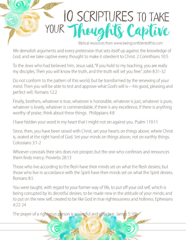 Grab your free printable scriptures to help you take your thoughts captive! Follow these 6 tips to overcome negative thinking. #overcomenegativity #godlyattitude #christianwomen #freeprintable scripture printable about negative thoughts | overcoming negative thinking | godly attitude adjustment | Christian women resources | encouragement | bible study | devotional | Christian growth | spiritual growth