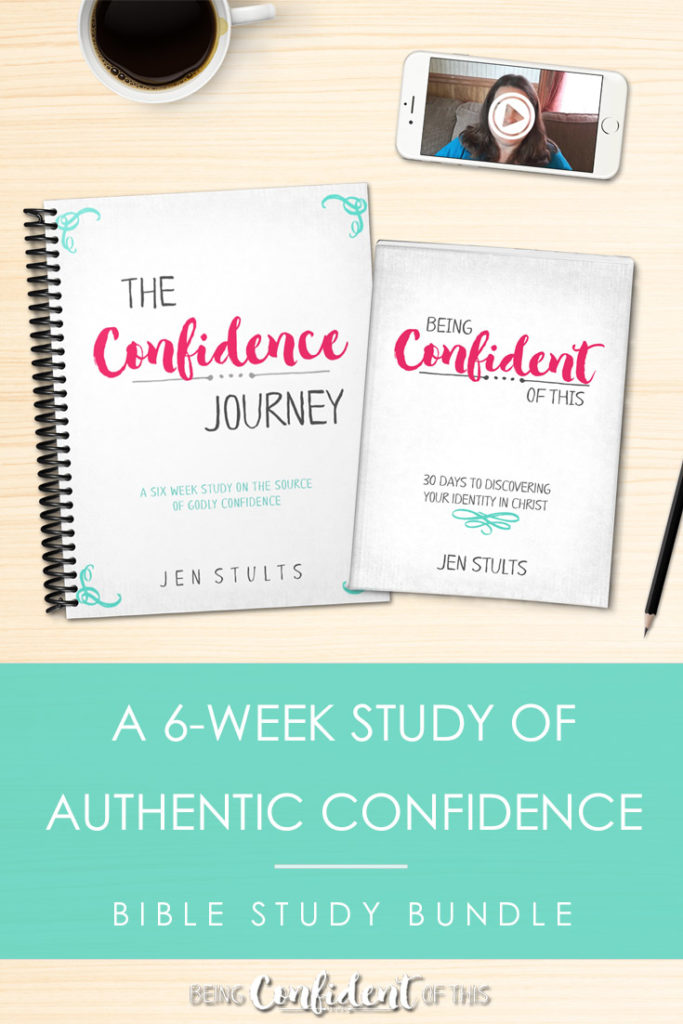 The Confidence Journey online Bible study gets to the root of authentic, godly confidence! Spend 6 weeks in the Word with author Jen Stults as you discover the keys to biblical transformation, all founded on your identity in Christ. Bundle includes the book, the Bible study workbook, and weekly video lessons. #onlineBiblestudy #biblestudyforwomen #TheConfidenceJourney #Christianconfidence